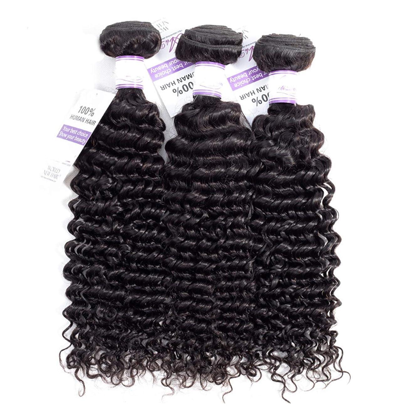 パンツレシピセレナブラジルのディープウェーブヘア織りバンドル100%人毛製織ナチュラルカラー非レミー髪は3個購入することができます かつら (Stretched Length : 24 26 28 inches)