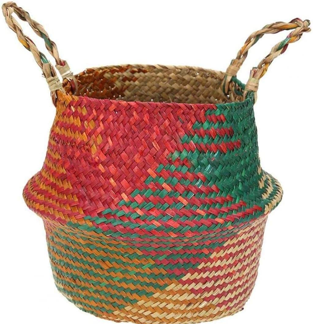 Wholesale EElabper Our shop OFFers the best service Seagrass Belly Storage Basket with Woven Foldab Handles