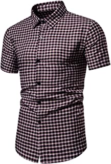 Men Short Sleeve Shirt Tops, Male Bussiness Plaid Printed Button T-shirt Blouse Tunic Top