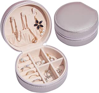 Sponsored Ad - LETLIT Jewelry Organizer Box for Women & Girls Gift, Round Small Travel Jewelry Case, Necklaces Rings Earrings Holder (Champagne Gold)