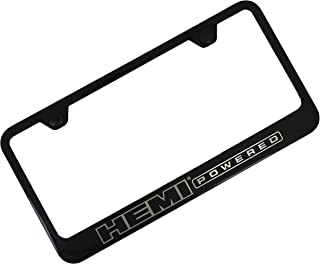 Au-Tomotive Gold, INC. Hemi Powdered Notched Black Stainless Steel License Plate Frame, 12