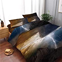 Nature Comfortable 4 Piece Bedding Set,Thunder Rays from Dark Clouds Hitting Down to The Mountain Storm Theme Art Print for Bedroom,Double Side Print:King