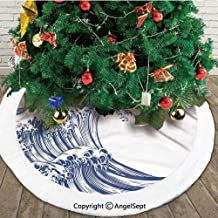 Oriental Vintage Great Wave Monochrome Kanagawa Inspired Antique Art,Useful Christmas Tree Skirt,Black and White,30 inches,Printed Pictures Decorations Indoor Outdoor