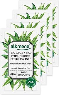 alkmene Gesichtsmaske mit Bio Aloe Vera - Feuchtigkeitsmaske für normale bis trockene Haut - vegane Gesichtsmasken ohne Silikone, Parabene, Mineralöl, PEGs, SLS & SLES im 8er Pack 8x 6 ml