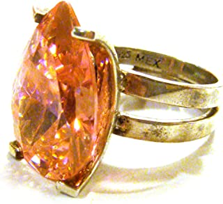 TAXCO Mexico .925 Sterling Silver Unique Ring Zircon Stone Size 10