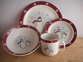 16 Piece Royal Seasons Dinnerware Snowflake Snowman Design Christmas Tableware Set