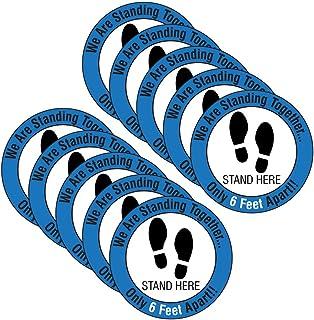 Warning Floor Stickers, Safe Social Distancing Non-Slip Floor Decal | Square Safe Social Distancing Floor Sticker | COVID-...