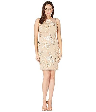 Calvin Klein Embroidered Sheath Dress with Illusion Neck (Buff Multi) Women