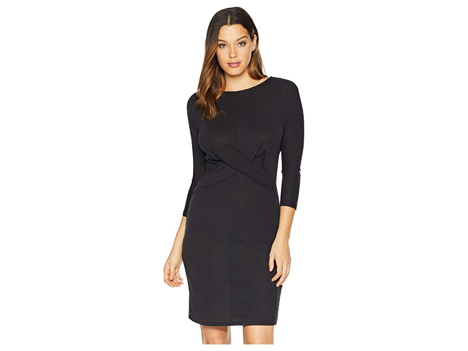 Vince Camuto Long Sleeve Cross Front Bodice Dress (Rich Black) Women