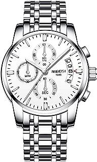 RORIOS Stylish Men Watch Analog Quartz Watches Stainless Steel Band Luminous Wrist Watch Chronograph Calendar Multifunction Dial Men's Watches