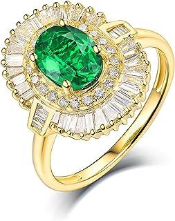 Daesar Anelli Oro Giallo 18K, Anello Matrimonio Donna Anello Smeraldo Donna 1.13ct Fiore Anelli in Oro Giallo Donna
