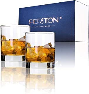 PERSTON -Italian Weighted Bottom Old Fashioned Lead Free Whiskey Glasses 13 Oz for Irish Bourbon Scotch,Rum Gifts,Wine,Cocktails,Beer,Juice,and Water(Round Straight Type Whiskey Glass Set(2pcs/1Set))