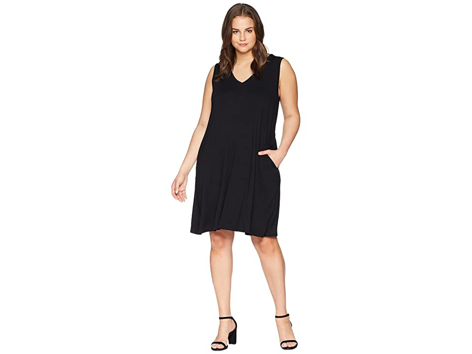 Karen Kane Plus Plus Size Sleeveless Pocket Dress (Black) Women