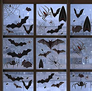 R HORSE 336 Pcs+ Halloween Window Clings 12 Sheets Decal Stickers Bat Spider Nonadhesive Self-Static Halloween Party Decorations for Glass Window