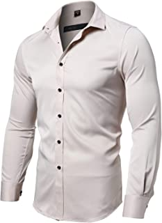 INFLATION Men's Dress Shirts Slim Fit Long Sleeve Bamboo Casual Formal Shirt Button Down Work Shirts Men