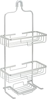 Zenna Home 7402AL, NeverRust Aluminum Shower Caddy, Satin Chrome Double Shelf with soap Dish Satin Chrome