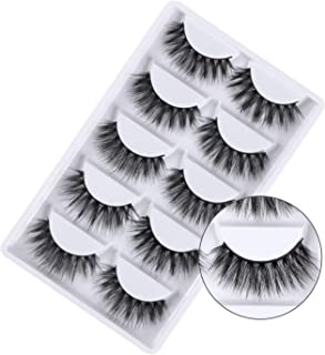 3D False Eyelashes, 3D Faux Mink Fake Eyelashes Handmade Dramatic Thick Crossed Cluster False Eyelashes Black Nature Fluffy Long Soft Reusable,Style 1 (5 Pairs)