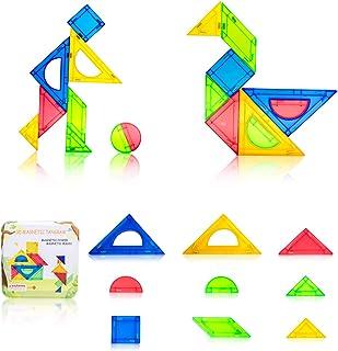SHUNLAM Tangram Puzzles for Kids Magnetic Blocks Brain Teaser Pattern Blocks Educational Toys for Building STEM Skills