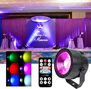 Stage Par Lights- Wash DJ Lights High Bright COB LED Sound Activated Strobe Disco Event UpLights with DMX and Remote Portable for Xmas Wedding Party DJ Dance Bar Birthday Club