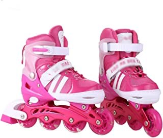 one- 1 Pair of Adult Children Inline Skate Roller Skating Shoes Adjustable Washable All Wheels Flashing Skates 2 Colors for Girls