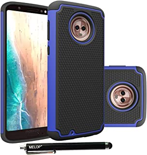 Moto G6 Case, MELOP Shockproof Heavy Duty Drop Protection Hybrid Dual Layer Defender Protective Case Cover Shell for Motorola Moto G6 (G 6th Generation) - Blue