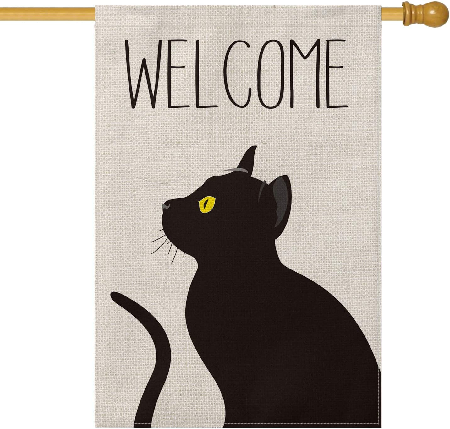 AVOIN Black Cat Welcome House Flag Lo Pet Super sale period limited Double Rare Sized Vertical