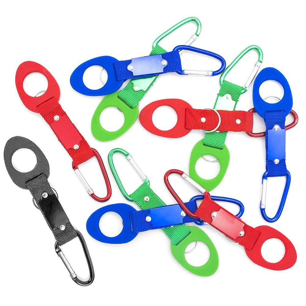 VGOODALL Portable Silicone Water Bottle Buckle, 10PCS Bottle Convenient Carrying Clip Hook Holder With D-Ring Hook for Camping Hiking Traveling with Emergency Aluminum Whistle