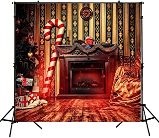 Funnytree 6x6ft Christmas Fireplace Backdrops for Photography Winter Indoor Mantel Cane Sugar Furnace Background Family Mantelpiece Child Baby Portrait Xmas Eve Party Photobooth Photo Studio Props