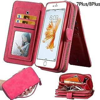 iPhone 7Plus/ 8Plus Women's Case,iPhone 7 Plus/8 Plus Wallet Case,Zipper Detachable Magnetic12 Card Slots Card Slots Money Pocket Clutch Cover Zipper Wallet Purse Case iPhone 7 Plus/8 Plus (HotPink)