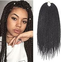 7Packs 14Inch Box Braids Crochet Braids Mambo Twist Braiding Hair 22roots Synthetic Kanekalon Jumpo Box Braids Brading Hair Extensions (14 inch, 1B)