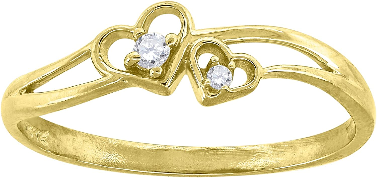 10kt Yellow gold Womens Round Cubic Zirconia CZ Double Heart Fashion Ring