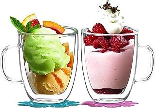 comprar comparacion BOQO Tazas de Vidrio Doble Pared, Taza de Cristal con Mango,400ml Juego de 2
