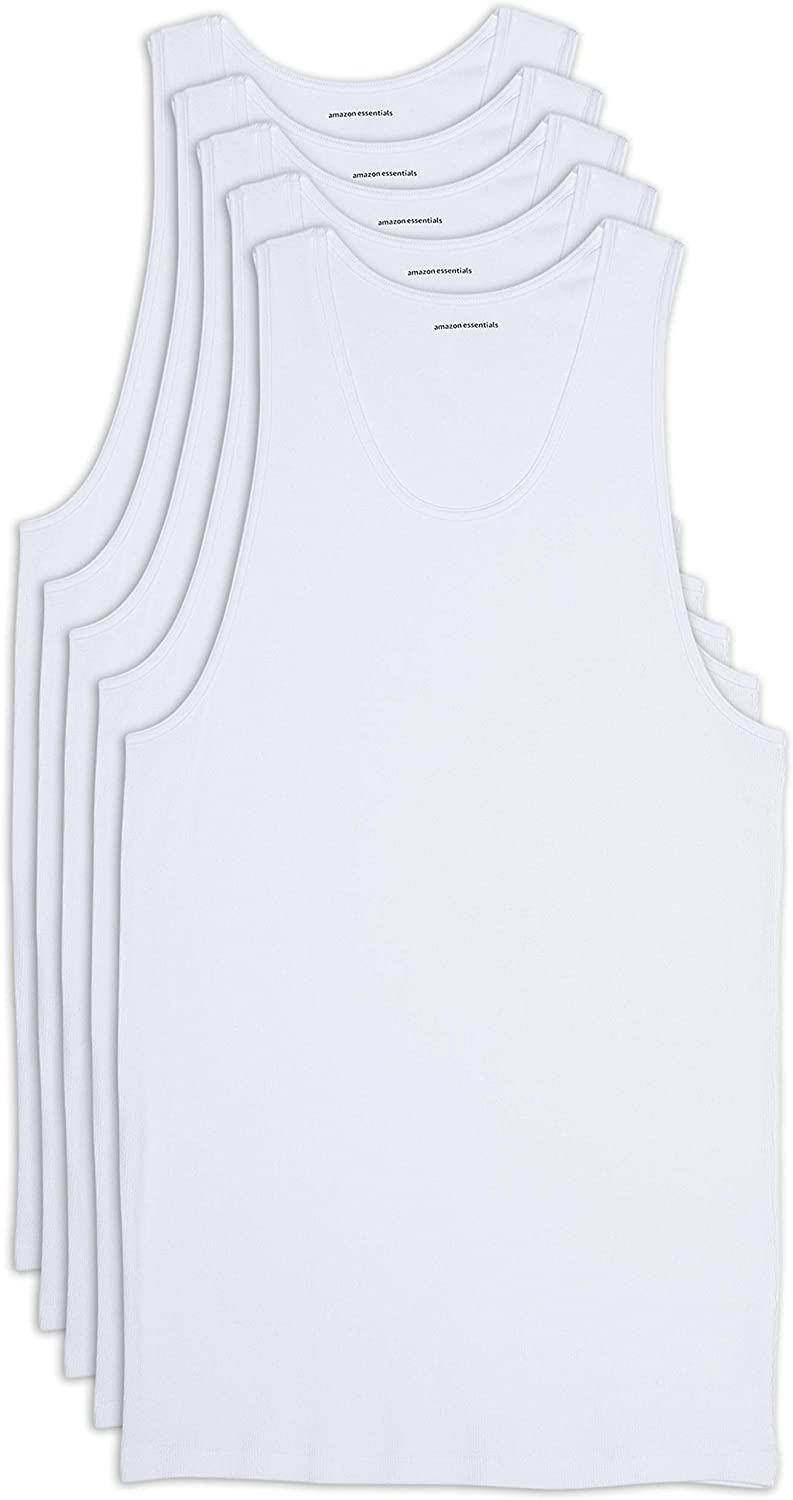 Amazon Essentials Men's Big and Tall 5-Pack Tank Undershirts fit by DXL