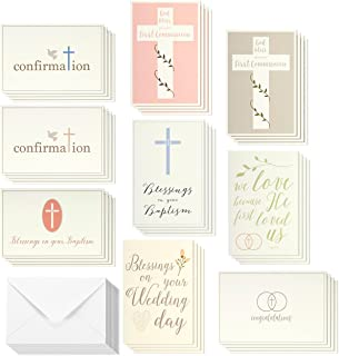 Elegant Pastel Catholic Sacrament Greeting Cards - 9 Sacramental Greetings for Baptism, First Communion, Confirmation, Wedding Blessings, Envelopes Included - 36 Pack