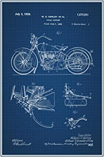 1928 Motorcycle Official Patent Blueprint Cool Wall Decor Art Print Poster 24x36