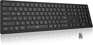 Wireless Slim Multi-Device Keyboard - POWZAN 2.4G Wireless + Bluetooth 5.1 Dual Mode Chiclet Keyboard with Number Pad Full Size for Mac, Windows, iPad, Android, PC, Tablet and Laptop - Matte Black