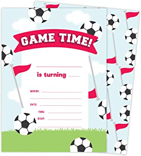 Soccer Design 2 Happy Birthday Invitations Invite Cards (25 Count) With Envelopes and Seal Stickers Vinyl Girls Kids Party (25ct)