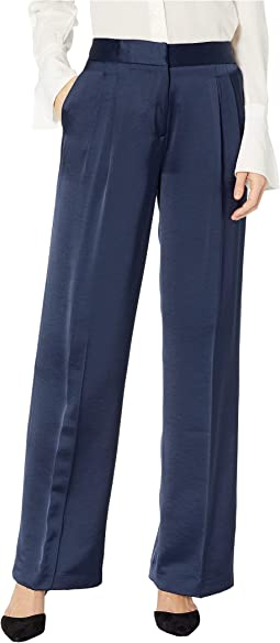 Wide Leg Front Pleat Soft Satin Pants