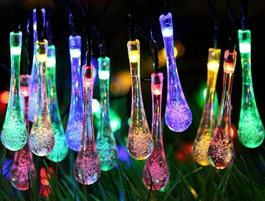 TOPCHANCES Solar Outdoor String Lights 20ft 30 LED Water Drop Solar String Lights Christmas Powered String Lights for Garden, Patio, Yard, Household, Christmas Tree, Parties