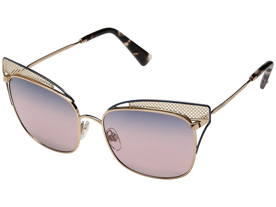 Valentino VA 2017 (Rose Gold/Blue Browbar/Rose Gradient) Fashion Sunglasses