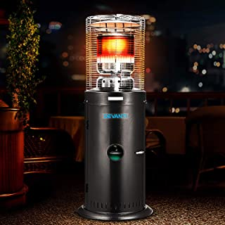 Devanti Gas Patio Heater Outdoor Commercial Propane Butane LPG Gas Bottle Portable Heat Stand Steel Black and Silver