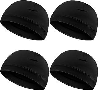 Syhood 4 Pieces Men Skull Caps Soft Cotton Beanie Sleep Hats Stretchy Helmet Liner Multifunctional Headwear for Men Women
