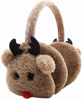 Lovful Girls Cartoon Deer Warm Earmuffs Children Cute Winter Ear Warmers Adjustable Ear Cover, Khaki
