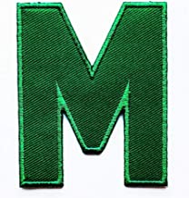 3 INCH Green Alphabet Letters Appliques Iron on Patch for T-Shirt Jeans Bags Jacket Children Kids Embroidered Applique Craft Handmade Baby Kid Girl Women Clothes DIY Costume Accessory (Letter M)