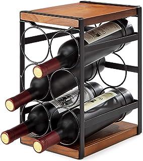 eletecpro Rustic Wood Wine Rack Freestanding 6 Bottles Organizer Holder Stand Countertop Liquor Storage Shelf Solid Wood No Assembly (6-Bottle)