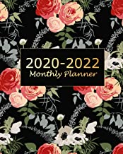 2020-2022 Monthly Planner: Black Flora Monthly Calendar Schedule Organizer (36 Months) For The Next Three Years With Holidays and inspirational Quotes