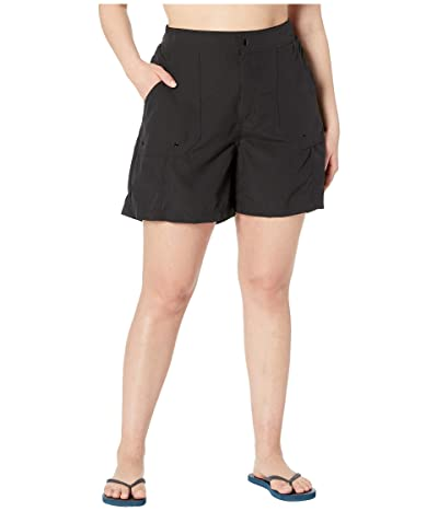 Maxine of Hollywood Swimwear Plus Size Solids Woven Long Boardshort (Black) Women