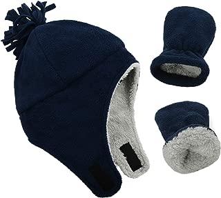 Baby Fleece Hat Warm Earflap Kids Caps Toddler Boys Winter Hat and Mitten Set