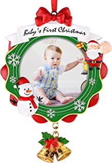Micbox Baby's First Christmas Picture Frame, Chrismas Ornament 2019 Year Dated, My Very First Christmas Baby Photo Frame, Picture Frame, Personalized