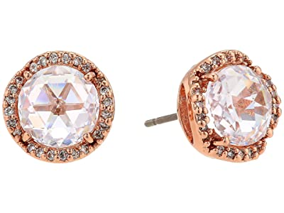 Kate Spade New York That Sparkle Pave Round Large Studs Earrings (Clear/Rose Gold) Earring